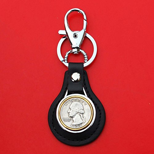 US 1957 Washington Quarter 90% Silver Coin Gold Silver Two Tone Leather Key Chain Ring NEW