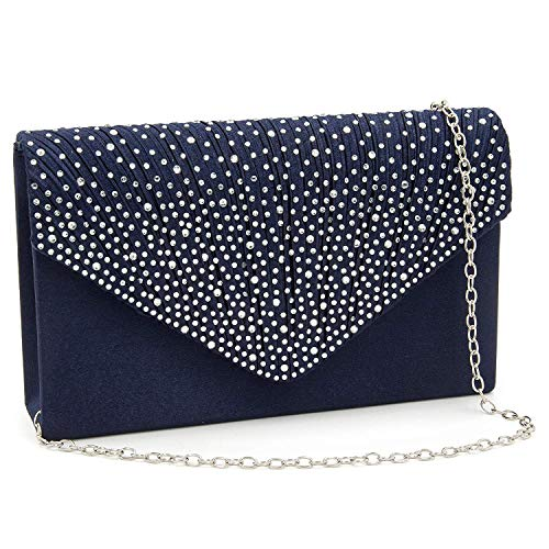 Milisente Clutch Purses for Women evening Glitter Wedding Purse Crystal Envelope Clutches Shoulder Bags (Navy Blue) ()