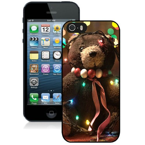 Coque,Fashion Coque iphone 5S Christmas Teddy Bear Lights Noir Screen Cover Case Cover Fashion and Hot Sale Design