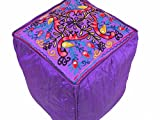 NovaHaat Purple Peacock Floral Embroidery Pouf Cover - Beautiful Indian Inspired Footstool Lounge Living Room Ottoman Seating from India - 16in L x 16in W x 16in H