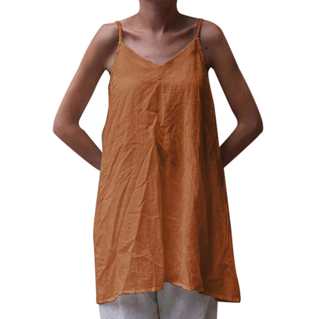 FONMA Womens V-Neck Tops Solid Camisole Sleeveless T-Shirt Casual Tunic Vest Blouse Orange
