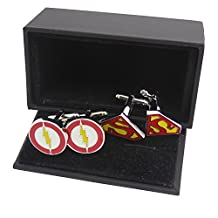 Masalong US Superhero retro Cuff Links Flash & Red Superman Party mens cufflinks 2 Pairs