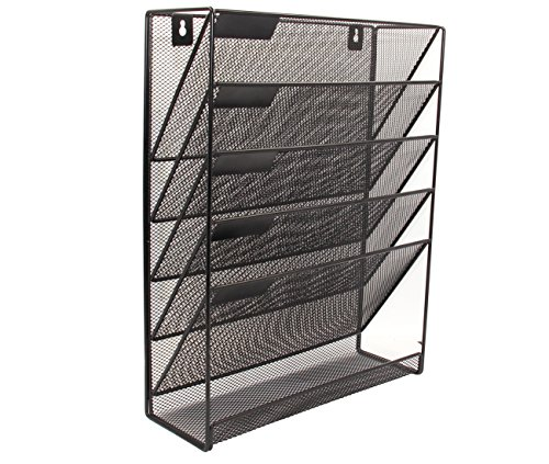 Superbpag Hanging File Organizer, 6 Tier Wall Mount Document Letter Tray Organizer, Black (Wall Office Organizer System Mounted)
