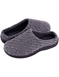 LongBay Mens Memory Foam House Slippers Warm Cozy Down Quilted Slide House Shoes Sport or Camping