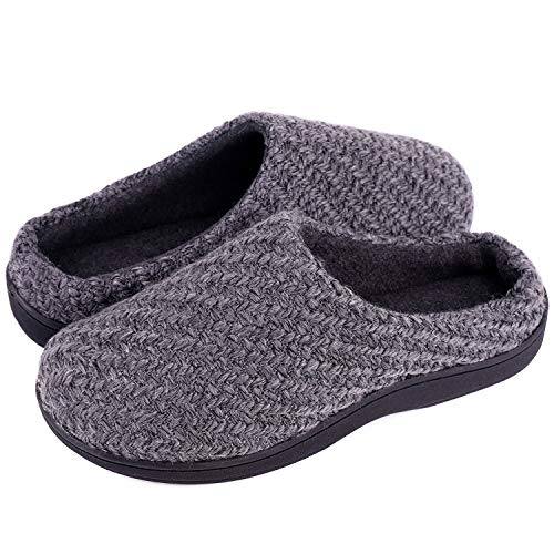 LongBay Men's Woolen Yarn Memory Foam House Slippers Fleece Clogs House Shoes for Indoor Outdoor Use (Large / 11-12 D(M) US, - Clog Yarn