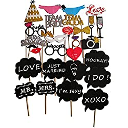Party Photo Booth Props - Fully Assembled, No DIY Required - Mix of Hats, Lips, Crowns, Mustaches and More - Durable and Vibrant - Perfect for Wedding Parties 28pcs
