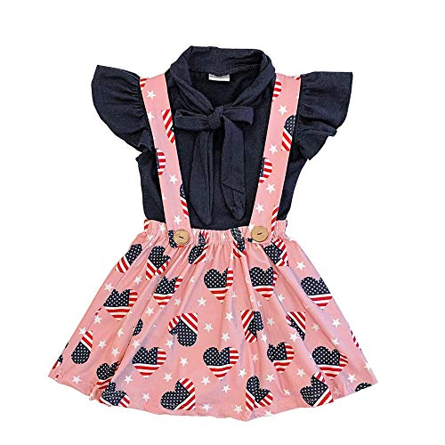 American Heart Baby T-shirt - Toddler Baby Girl 4th of July American Flag Ruffle T-Shirt Tops + Stars Suspender Skirt Short Pants 2PCS Overalls Outfit Set (Blush Patriotic Heart Suspender Skirt Set, 1-2 Years)