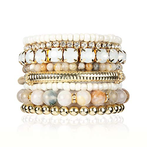 RIAH FASHION Multi Color Stretch Beaded Stackable Bracelets - Layering Bead Strand Statement Bangles ([S-M] Natural Stone - Multi)