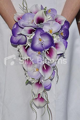 Exotic Purple & Lilac Phalaenopsis Orchids & Magenta Tipped Calla Lilies Cascade Bridal Wedding - Orchid Bridal Phalaenopsis Bouquets