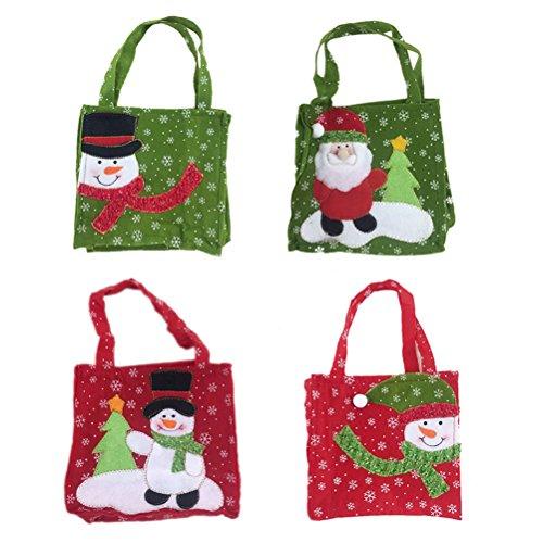 Tinksky 4pcs Santa Claus Snowman Gift Bag Kids Candy Bags Portable Christmas Handbag christmas gift bags Festival (Purse Cookie Favor)