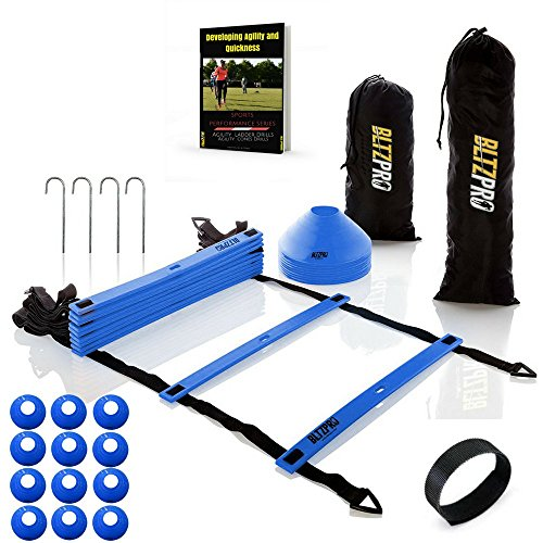 Step Ladder Training - Bltzpro AGILITY LADDER with SOCCER CONES-A Fitness Training Gear used by Athelets & Coaches for teams sports.16ft | Adjustble Rungs| 12 Cones| 2 Carry Bags| 4 pegs |footwork drills ebook