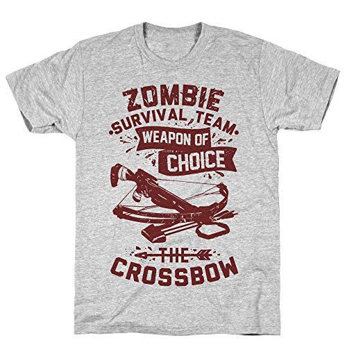 LookHUMAN Zombie Survival Team Weapon of Choice The Crossbow 2X Athletic Gray Men's Cotton Tee -