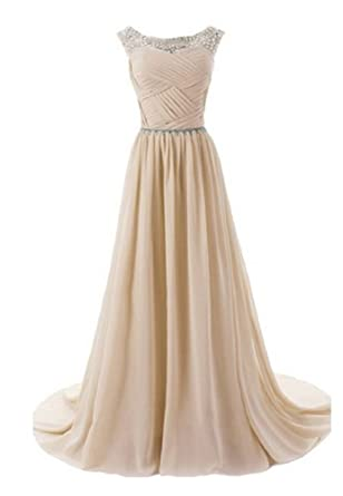 Beauty-Emily Spaghetti Brush Crystal Wedding Evening Dresses Sequins Long  Formal Prom Gowns Color Champgane