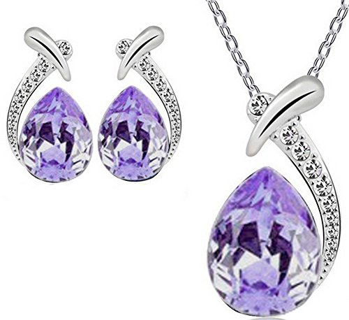 (AmaranTeen - 18K White Gold Plated Austrian Crystal Necklace Earrings)