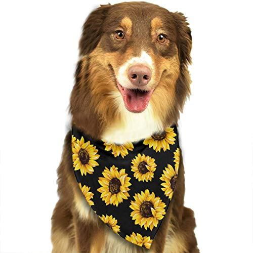 FRTSFLEE Dog Bandana Hipster Golden Sunflowers Scarves Accessories Decoration for Pet Cats and Puppies for $<!--$9.99-->