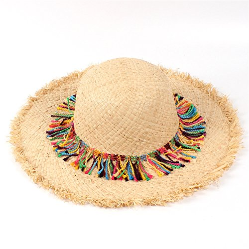 for Ladies Hats Raffia Wheat Sun Hats for Women Full Brim Beach Pom Pom Hat (Color : Natural, Size : 57-58CM)