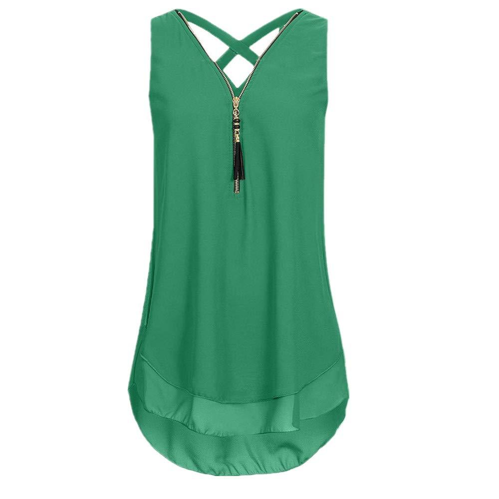 iYBUIA Women Loose Sleeveless Solid Tank Top Cross Back Hem Layed Zipper V-Neck T Shirts Tops (L, ZA-Army Green)