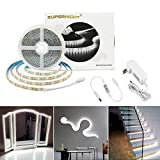 SUPERNIGHT Daylight White LED Light Strip 6500K, Brightness Adjustable 16.4ft 600 LEDs SMD 2835 Strip Light with Dimmer, UL Listed 12V Power Supply for Cabinet, Vanity Mirror, DIY Decoration