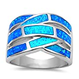 Lab Created Blue Opal .925 Sterling Silver Fashion Ring - Size 8