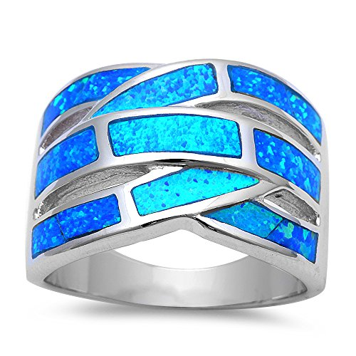 Lab Created Blue Opal .925 Sterling Silver Fashion Ring - Size 10