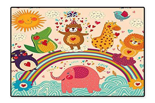 Red Lion Cascade - Area Rug Happy Animals Bear Lion Elephant Crocodile Birds on Rainbow Children Drawing Effect Orange Green Red Modern Watercolor Multicolor 6'6