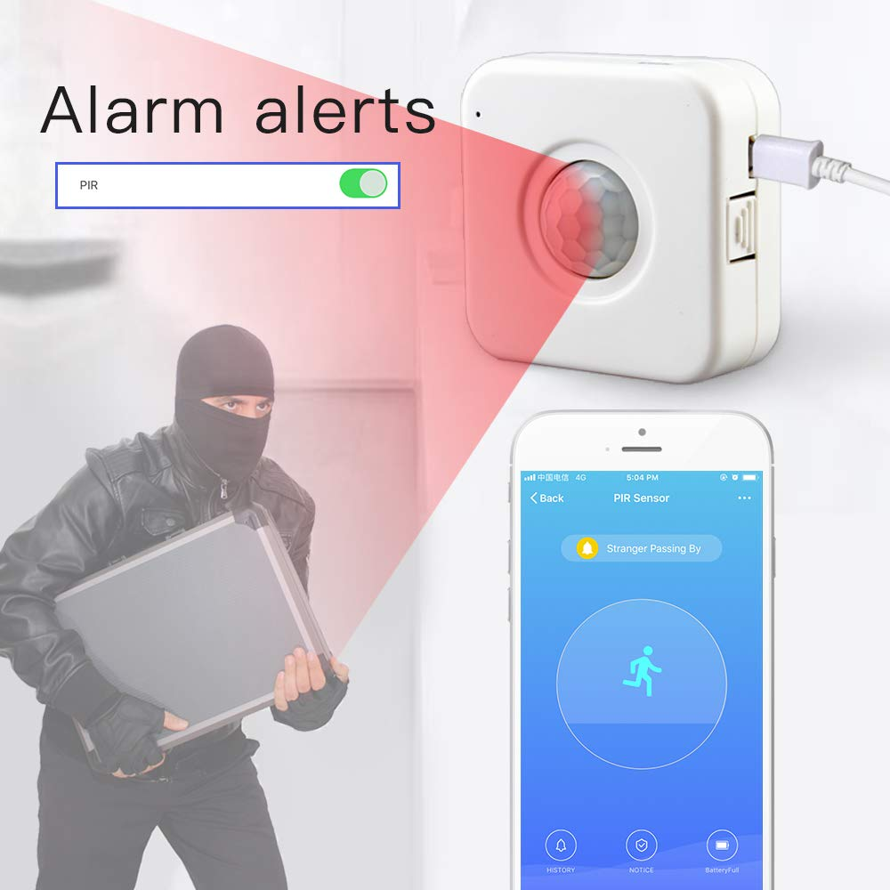 aixi-SHS Wi-Fi PIR Sensor de Movimiento Activa alertas Detector de Movimiento-Carga USB-TuyaSmart/Smart Life App Control: Amazon.es: Bricolaje y ...