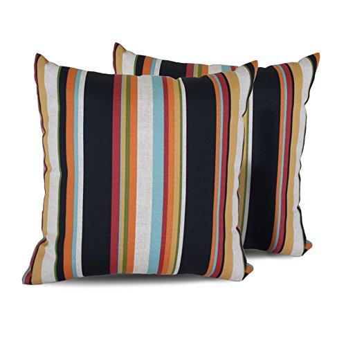 TK Classics Villa Stripe Square Outdoor Throw Pillows, Set of 2, Villa Stripe (Pillows Amazon Patio)