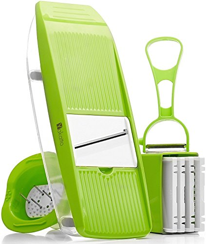 Yakatto Mandoline Slicer - Kitchen Potato Slicer - Vegetable Grater - Food Slicer - Mandolin - Julienne Vegetable Slicer - Cutter for Cucumber, Onion, Cheese with 5 Stainless Steel Blades