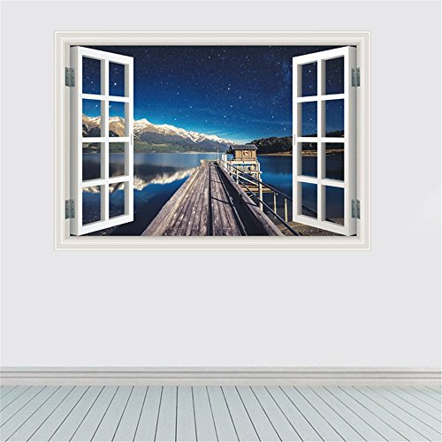 Harbour Mirror - Imitation windows Harbour Pier Wall Stickers for Bedroom/Living/Room/Nursery/Kids Room Decoration Art 3D Stickers