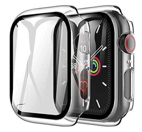 LK 2 Pack Case for Apple Watch Series 6 SE 44mm Built-in Tempered Glass Screen Protector, Hard PC Protector Cover for Apple Watch Series 6 SE 44mm-Clear