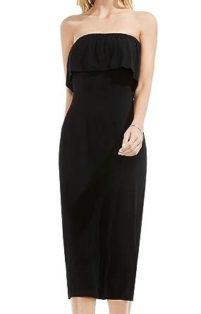 26978e68d871 Vince Camuto Womens Ruffle Off Shoulder Midi Dress Rich Black LG One Size