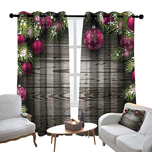 Lewis Coleridge Blackout Lined Curtains Christmas,Old Fashioned Concept with Twigs and Balls on Rustic Wood Vintage Design Print,Brown Pink,Thermal Insulated,Grommet Curtain Panel Set of 2 84