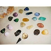 21 Rare Chakra Tumbled Stones Gemstones Kit - with Kyanite Jade Aragonite Stromatolite