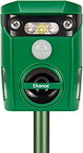 Thanos Solar Power Cat Repeller Ultrasonic Animal Repellent LED Flashing Light Motion Activated to Keep Dog Fox Raccoon Deer Away from Your Garden (Green)