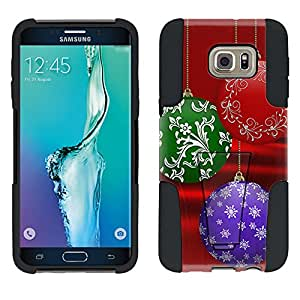 Samsung Galaxy S6 Edge Plus Hybrid Case Christmas Ornament on Red 2 Piece Style Silicone Case Cover with Stand for Samsung Galaxy S6 Edge Plus