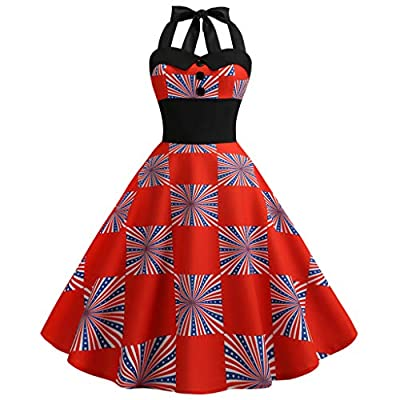 RAINED-Women's Cocktail Swing Dress Rockabilly Vintage Polka Dot Halter Dress 4th July Patriotic USA Flag Dress Sundress