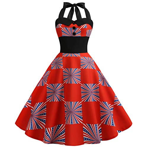 FORUU American Flag 4th of July Dresses for Womens, Laides Printed Evening Party Prom Swing Button Halter Hepburn Dress Bridesmaid Wedding 1920s Newest Arrivals Trendy Stylish Elegant Cute -