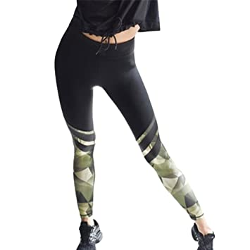 0f46af685c6 Kavitoz Womens Camouflage Splice Yoga Workout Gym Leggings Fitness Sports  Cropped Pants