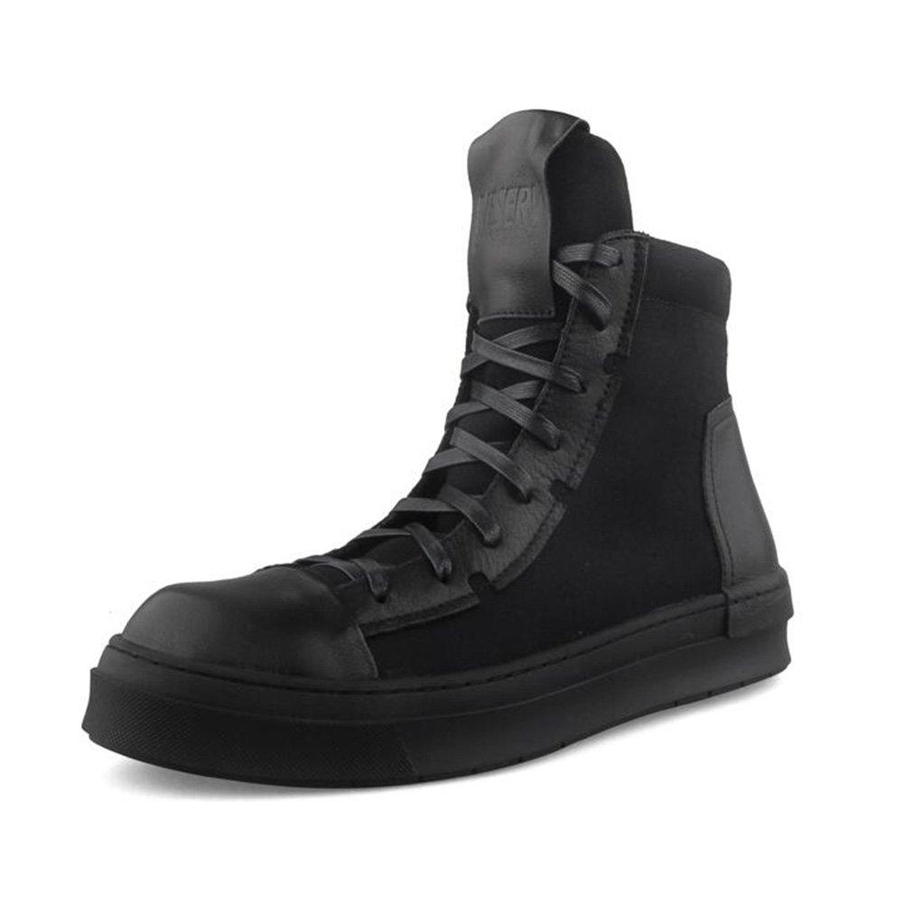YIXINY Deporte Zapato S-752 High-top Shoes Male PU + Zapatos con placa de tela Hip-hop Zapatos ocasionales con tapa gruesa White, Black ( Color : Negro , Tamaño : EU39/UK6/CN39 ) EU39/UK6/CN39|Negro