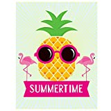 ALAZA Pineapple Pink Flamingo Summertime Polyester House Flag Banner 28″ x 40″ Double Sided, Tropical Pineapple Wear Sunglasses Welcome Summer Mini Garden Flags for Anniversary Yard Outdoor Decoration