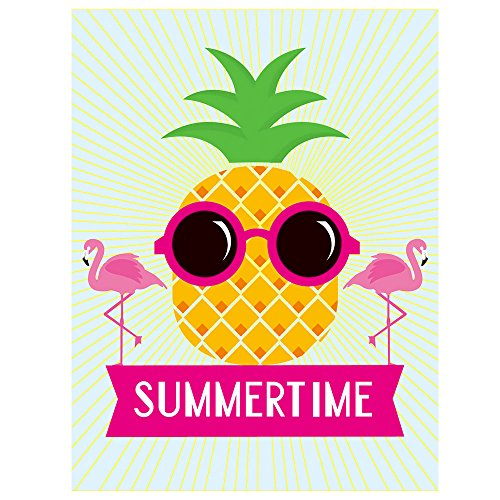 ALAZA Pineapple Pink Flamingo Summertime Polyester House Flag Banner 28