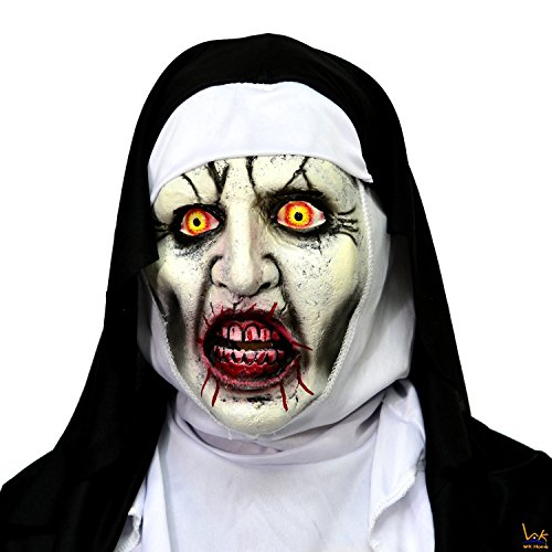 WK Home The Nun Mask, Deluxe Latex Scary Full Head Halloween Cosplay -