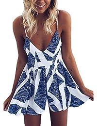 Women's Sexy V Neck Printed Spaghetti Strap Beach Romper...