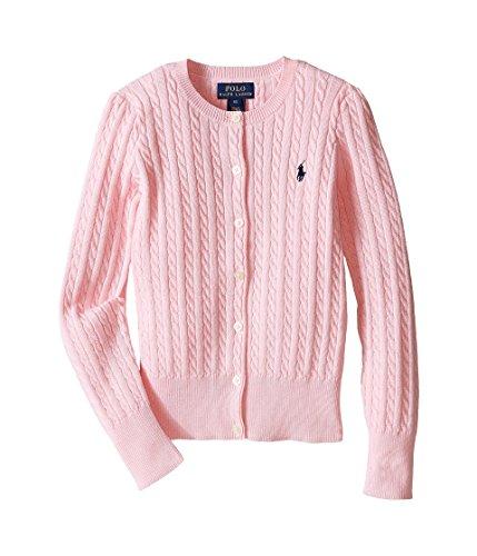 RALPH LAUREN Polo Girls Cotton Knit Cable Cardigan Sweater (6) (Lauren Cable Polo Ralph Sweater)
