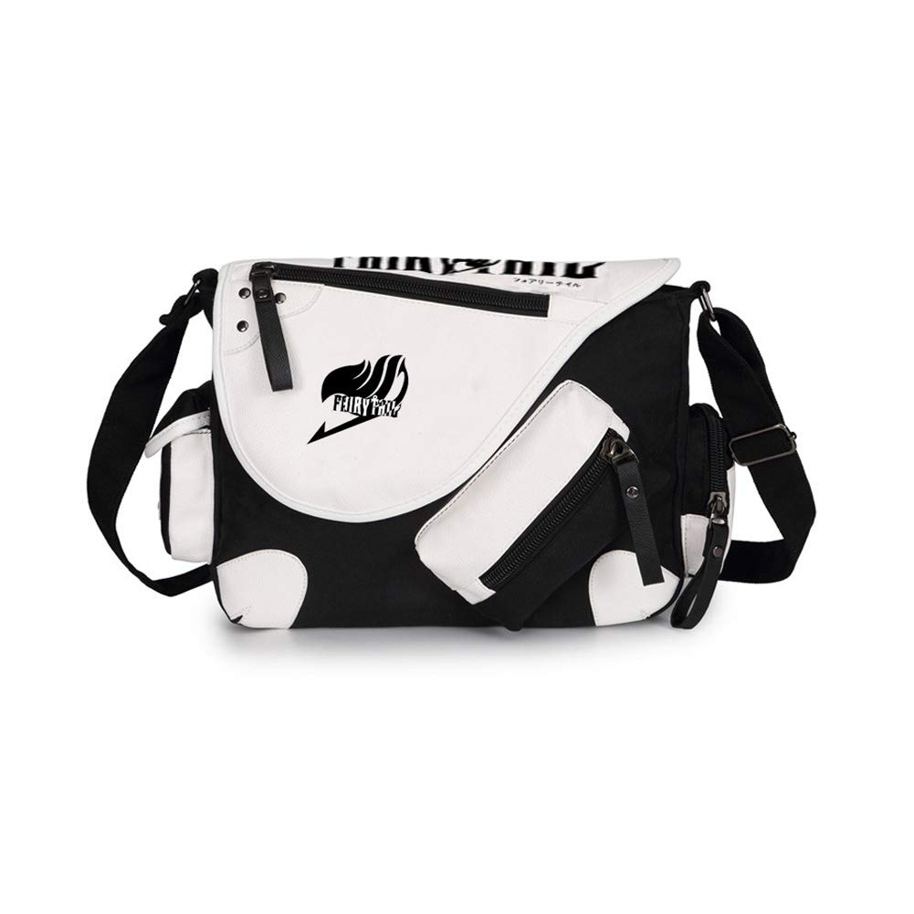 Joyralcos Japanese Anime Messenger Bag Crossbody Canvas Cosplay Shoulder Bag for Boys Girls (Black)
