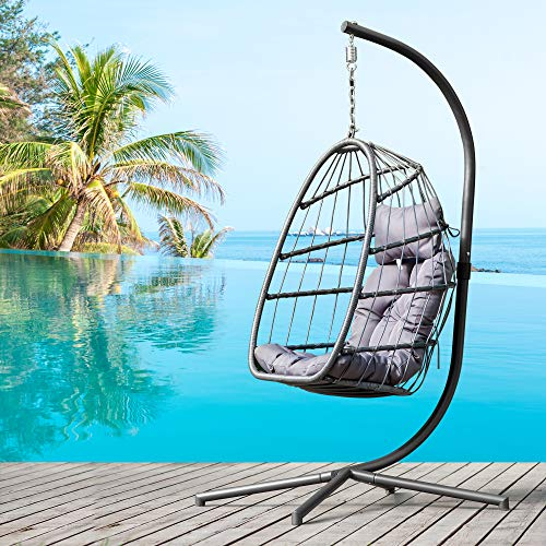 elify Wicker Hanging Swing Chair, Patio Rib Hanging Egg Chair with UV Resistant Grey Cushion and Aluminum Stand Frame in Door Outdoor Patio (Gray)