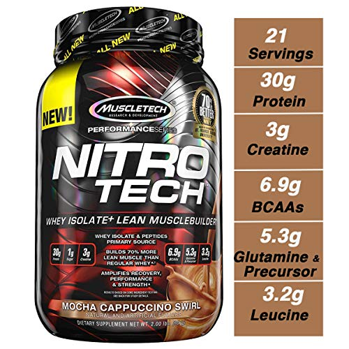 MuscleTech NitroTech Protein Powder Plus Muscle Builder, 100% Whey Protein with Whey Isolate, Mocha Cappuccino Swirl, 20 Servings (2lbs) ()