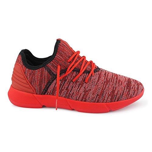 FiveSix Herren Sneaker Sportschuhe Laufschuhe Freizeitschuhe Textilschuhe Mehrfarbig Schnürschuhe Low-Top Schuhe Rot