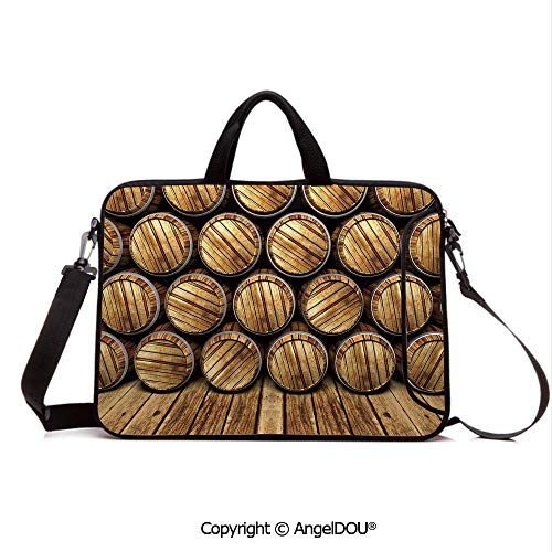 AngelDOU Neoprene Printed Fashion Laptop Bag Wall of Wooden Seem Barrels Cellar Storage Winery Rum Container Stack Notebook Tablet Sleeve Cases Compatible with Lenovo Asus Acer HP Broen Light - Rum Platinum