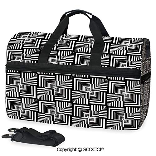 3D Printed Duffel Bag Geometric Op Art Pattern Unusual as a Crossbody bag